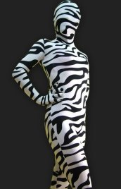 Black and White Zebra Spandex Lycra Unisex Full-body Zentai Suit