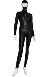 Black Sexy Shiny Metallic Catsuit with Open Face