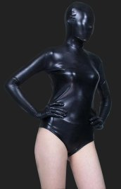 Black Shiny Metalic Solid Color Catsuit without Legs