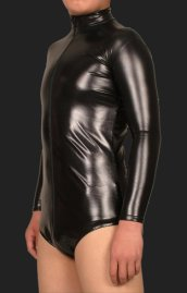 Black Shiny Metallic Gym Catsuits