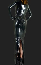 Black Shiny Metallic Long Dress (No Hood)