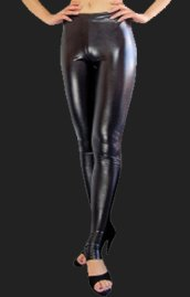 Black Shiny Metallic Pants