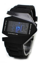 Black Silicone Style Blue LED Wrist Watch with Date Function