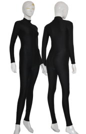 Black Spandex Lycra Zentai Suit with Front Zipper and Crotch Zipper