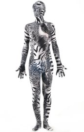 Black Zebra and Leopard Spandex Lycra Zentai Suit