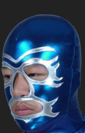 Blue and Silver Mardi Gras Zentai Hood