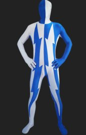 Blue and White Flash Spandex Lycra Zentai Suit