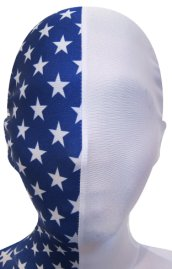 Blue and White Stars Split Zentai Mask / Hood