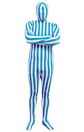 Blue and White Vertical Strips Spandex Lycra Zentai Suit