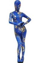 Blue Gold Spandex Lycra and Shiny Metallic Zentai Suit
