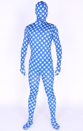 Blue Lycra Spandex Full Body Zentai Suit With Stars Pattern