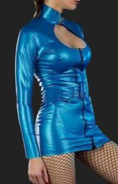 Blue Sexy Costume | Shiny Metallic Long Sleeve Open Chest Dress