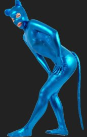 Blue Shiny Cat Costume | Shiny Metallic Cat Woman Bodysuit