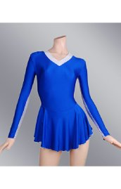 Blue Spandex Lycra Long Sleeves Jersey Dress