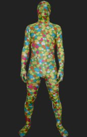 Blue Yellow and Red Dot Spandex Lycra Unisex Zentai Suit