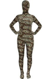 Brown Leopard and Trips Thicken Velvet Zentai Suit