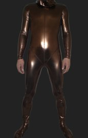 Brown Shiny Full Body Suit | Shiny Metallic Full Body Zentai Suit with Top Stitching