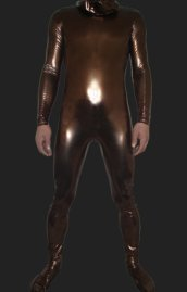 Brown Shiny Full Body Suit with Hood No Hand