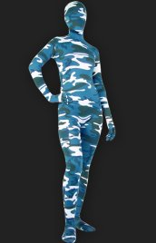 Camouflage Unisex Lycra Spandex Full-body Zentai Suit(Blue)