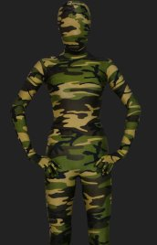 Camouflage Unisex Lycra Spandex Full-body Zentai Suit(Dark Green)