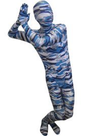 Camouflage Zentai Suit | Blue and Grey Spandex Lycra Zentai Suit