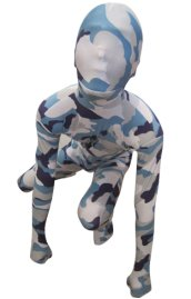 Camouflage Zentai Suit | White and Blue Spandex Lycra Zentai Suit