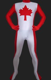 Canada Full Body Suit | Red and White Spandex Lycra Unisex Zentai Suit