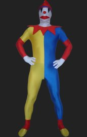 Clown! White , Yellow, Blue Spandex Lycra Unisex Zentai Suit