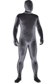 Dark Grey Thick Velvet Spandex Zentai Full Bodysuit