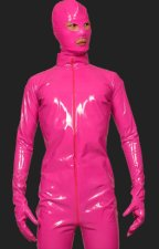 Fuchsia PVC Full Body Zentai Suits with Open Eyes and Mouth