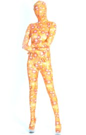 Gold and Pink Sakura Shiny Metallic Zentai Suit