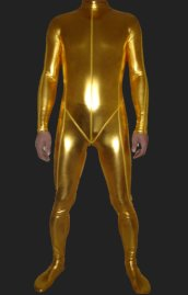 Golden Shiny Full Body Suit | Shiny Metallic Full Body Zentai Suit with Top Stitching