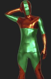 Green and Orange Symmetrical Pattern Shiny Metalic Zentai Outfit