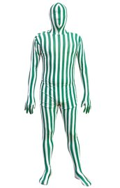 Green and White Vertical Strips Spandex Lycra Zentai Suit