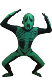 Green Screaming Skull Skeleton Zentai Suit