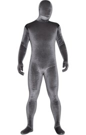 Grey Thick Velvet Spandex Zentai Full Bodysuit