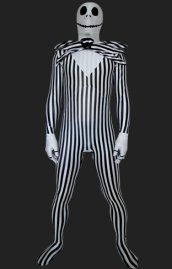 Halloween Pumpkin Black and White Full Body Unisex Zentai Suit