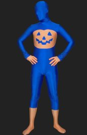 Halloween! Royal Blue Pumpkin Lycra Spandex Unisex Zentai Suit
