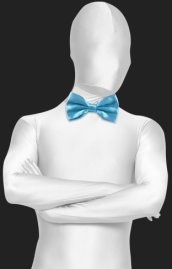 Lake Blue Satin Bow Tie