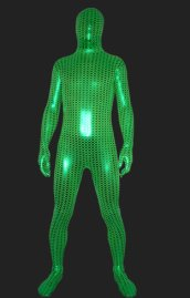 Lemon Green Shiny Metallic Full Body Zentai Suit with Small Ripple