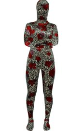 Leopard and Roses Thicken Velvet Zentai Suit