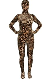 Leopard and Text Thicken Velvet Zentai Suit