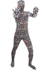 Leopard Zentai Suit | Black , Orange and White Thick Velvet Full Body Suit