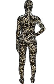 Light Brown and Black Leopard Thicken Velvet Zentai Suit