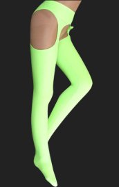Light Green Lycra Pantihoses with Open Crotch