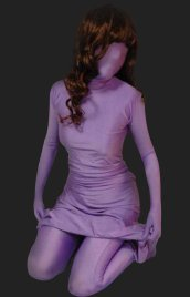 Lilac Full-body Lycra Spandex Premium Zentai Suit with Long Dress