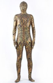 Limited | Brown Flow Strips Pattern Shiny Metallic Zentai Suit