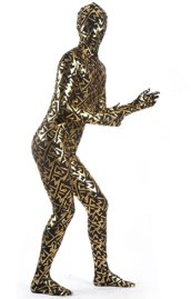 Limited | Gold and Black Shiny Metallic Patterned Zentai Suit