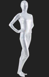 Limited! Silver Multicolour Block Full Body Shiny Metallic Unisex Zentai Suit