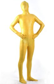 Limited | Yellow and Gold Shiny Metallic Patterned Zentai Suit